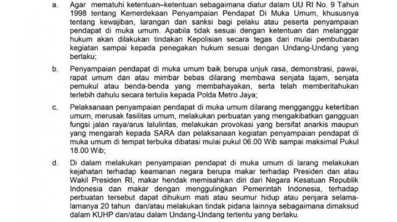 Maklumat Kapolda Metro Jaya soal penyampaian pendapat di muka umum