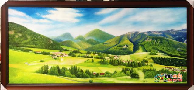 tranh phong cảnh sơn dầu tặng tân gia