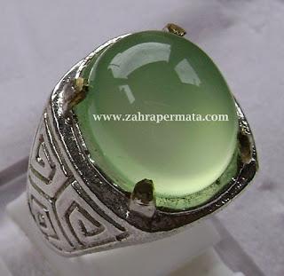 Cincin Batu Permata Green Chalcedony