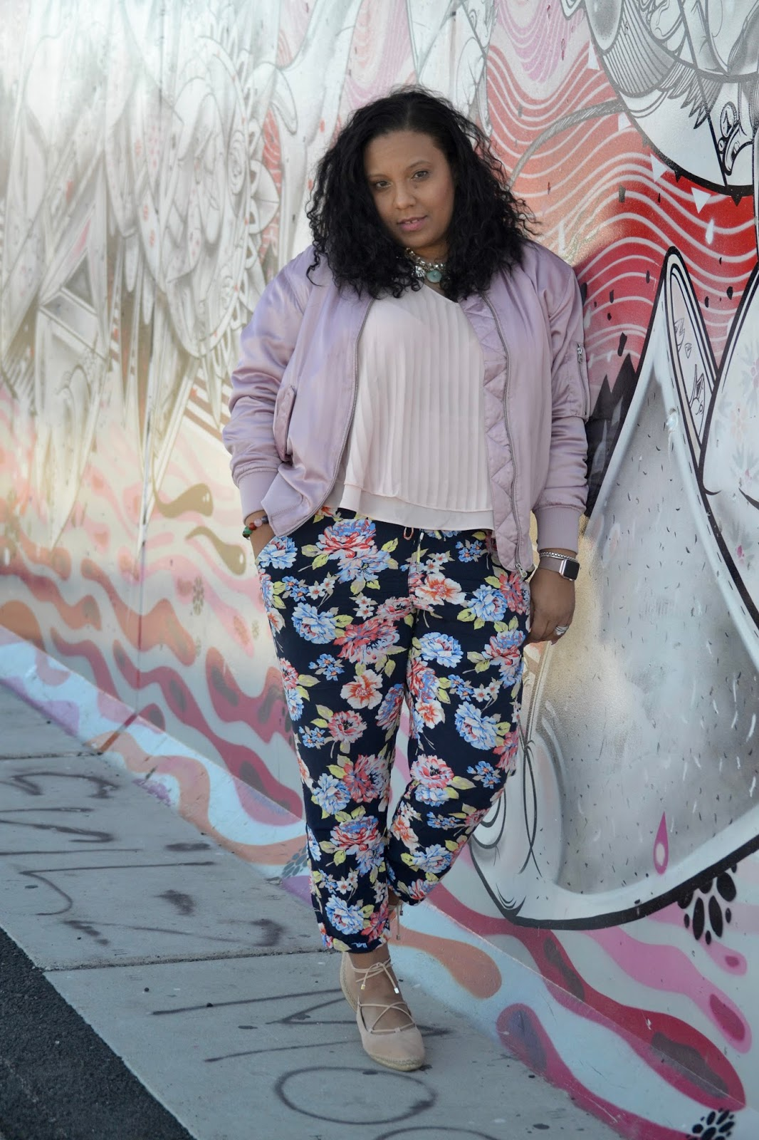 Pink and floral outfit