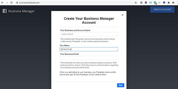 """Complétez le premier formulaire en renseignat le nom de votre page, votre nom et votre adresse email. Puis cliquez sur """"Next""""."""