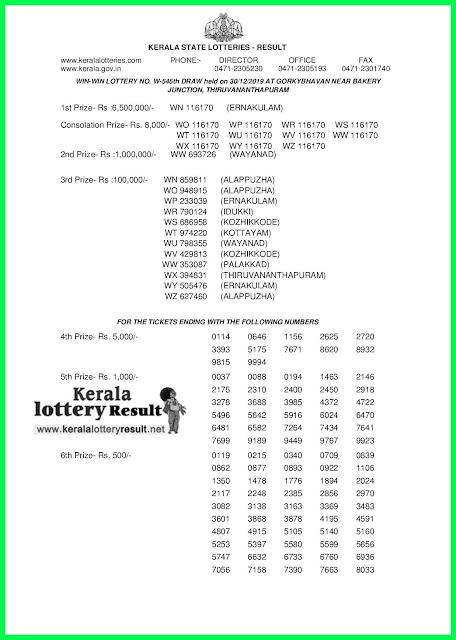 Kerala Lottery Result 30-12-2019 Win Win W-545 (keralaotteryresult.net)-