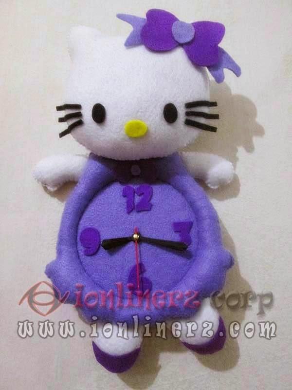 Jam Dinding Flanel Karakter Kartun Boneka Hello Kitty Purple