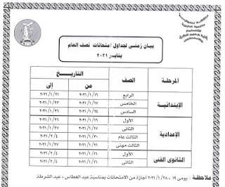 جدول امتحانات محافظة المنوفية المرحلة الابتدائية والاعدادية