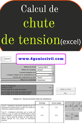 Calcul de chute de tension avec excel