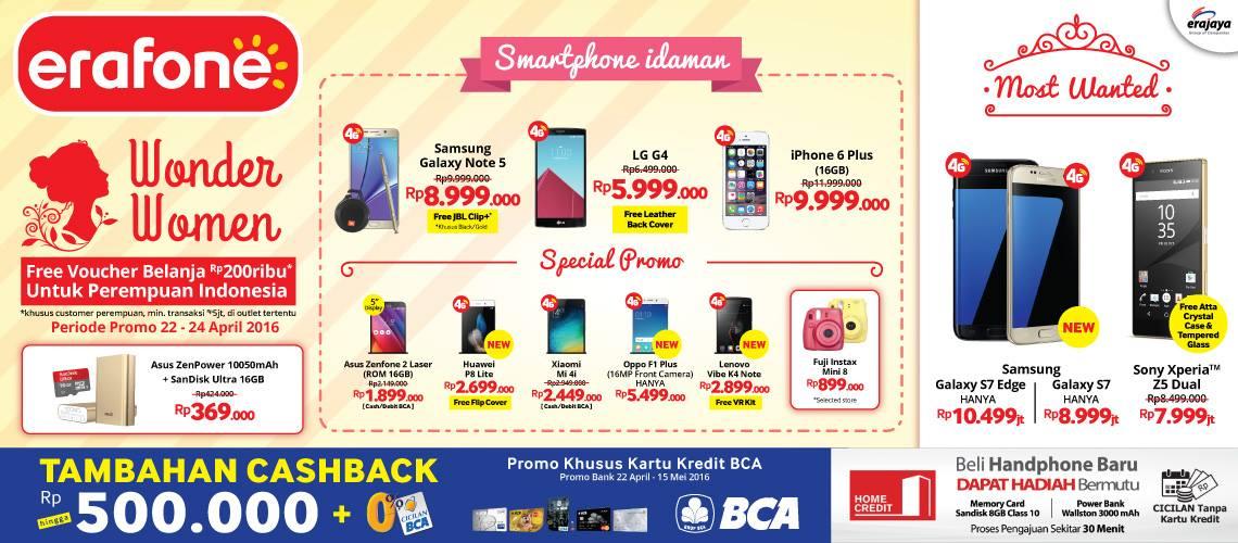 Promo Erafone Terbaru Wonder Woman Free Voucher Belanja Rp 200 Ribu 22 – 24 April 2016