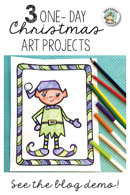3 Easy one-day Christmas drawing art lessons that will delight your students! See step-by-step ideas for combining basic art supplies to create cute art projects that will keep kids engaged right up to the holiday!