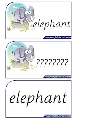 elephant printable flashcards