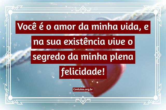 Você é o amor da minha vida, e na sua existência vive o segredo da minha plena felicidade!