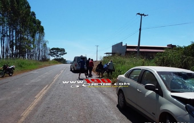 Alta Floresta – Carro colide em motocicleta e deixa dois gravemente feridos, na linha P.50