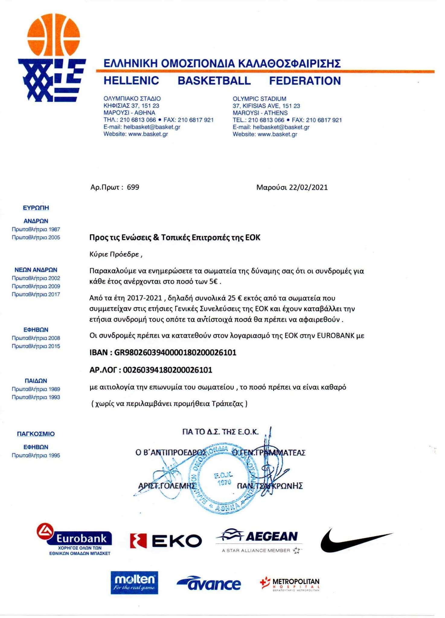 Ενημέρωση της ΕΟΚ για συνδρομές σωματείων στην Ομοσπονδία