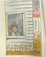interior illustration of Penny looking out the window