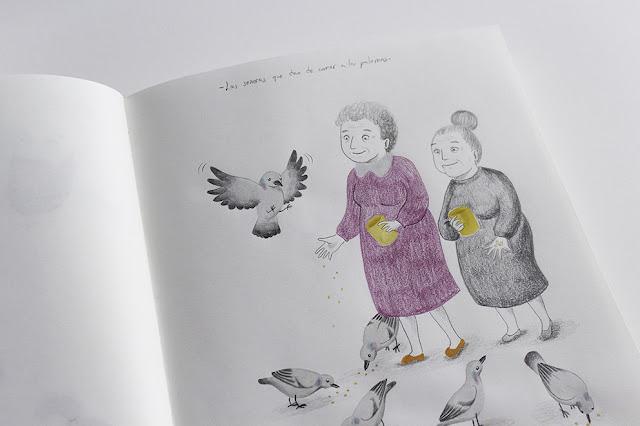 Personajes, niños, ilustración infantil, procesos de trabajo, ilustración de niños, diseño de personajes, señoras, dibujo de señoras, palomas, dibujo de palomas, dar de comer a las palomas,niños, nenes, infantil,