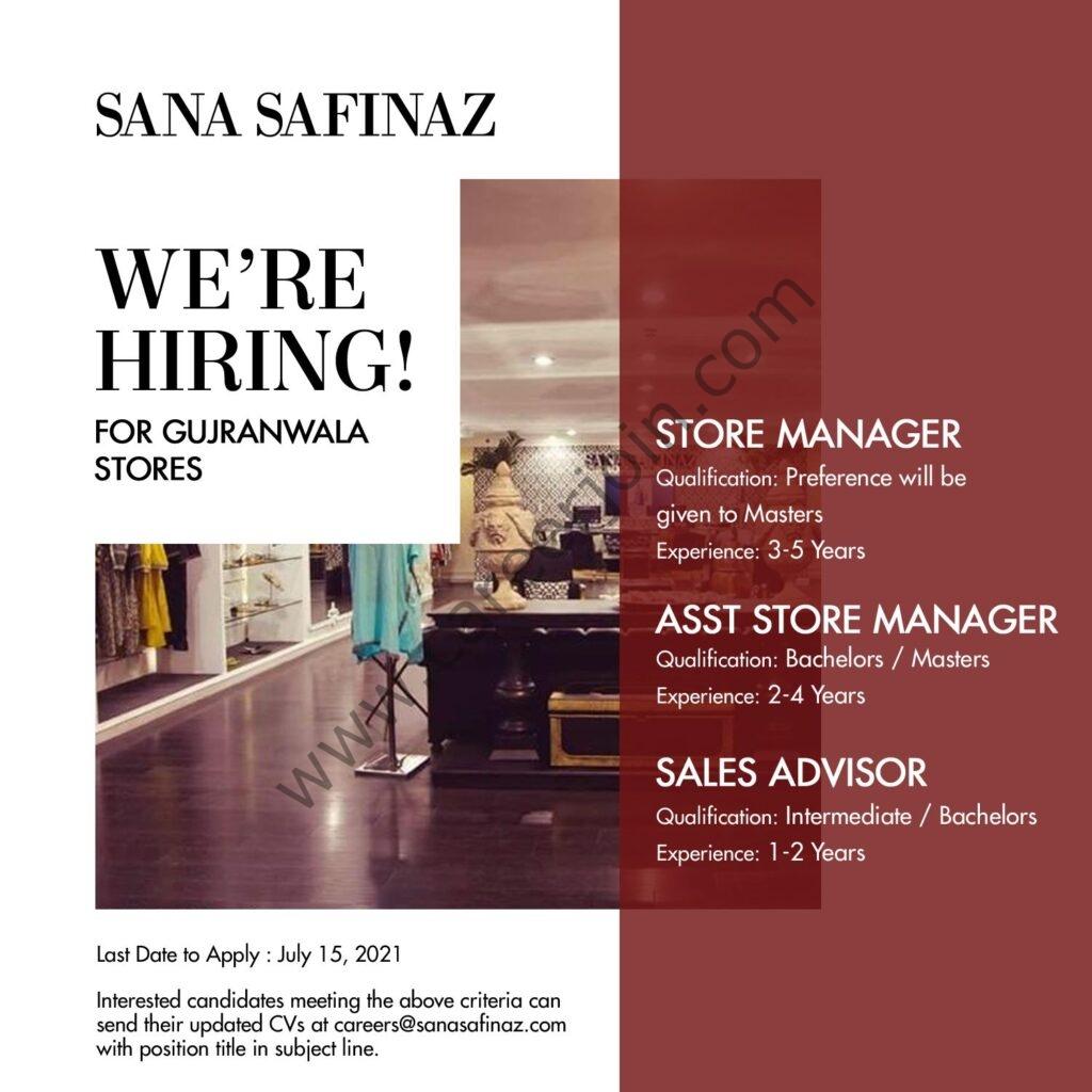 Sana Safinaz Jobs July 2021