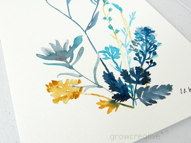 Original Watercolor Wildflowers in Blue and Gold by Elise Engh: growcreative