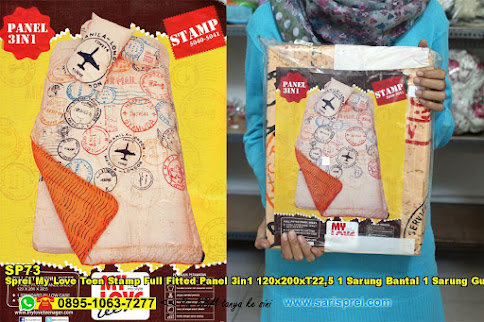 Sprei My Love Teen Stamp Full Fitted Panel 3in1 120x200xT22,5 1 Sarung Bantal 1 Sarung Guling Krem Orange Jingga Vintage Anak Remaja
