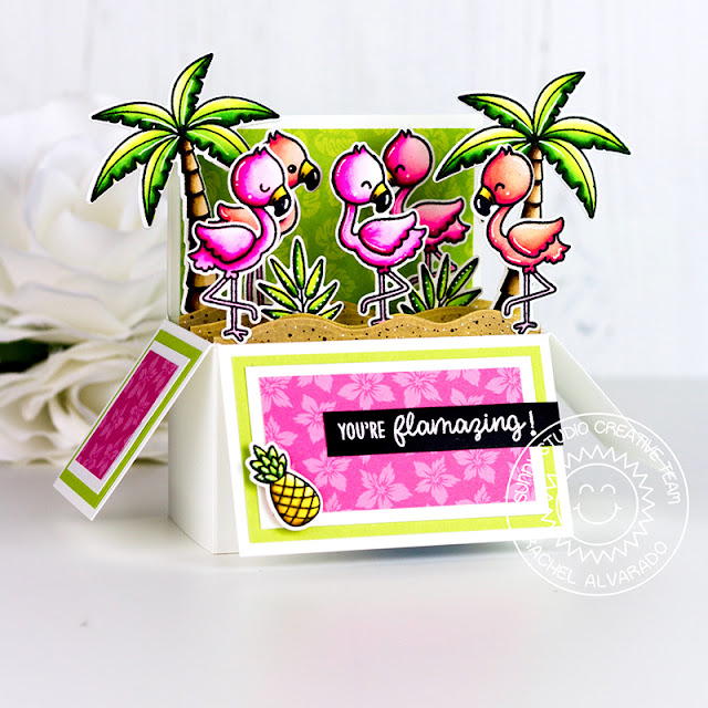 Sunny Studio Stamps: Fabulous Flamingos Seasonal Trees Wavy Border Dies Summer Tropical Themed Cards by Lexa Levana and Rachel Alvarado