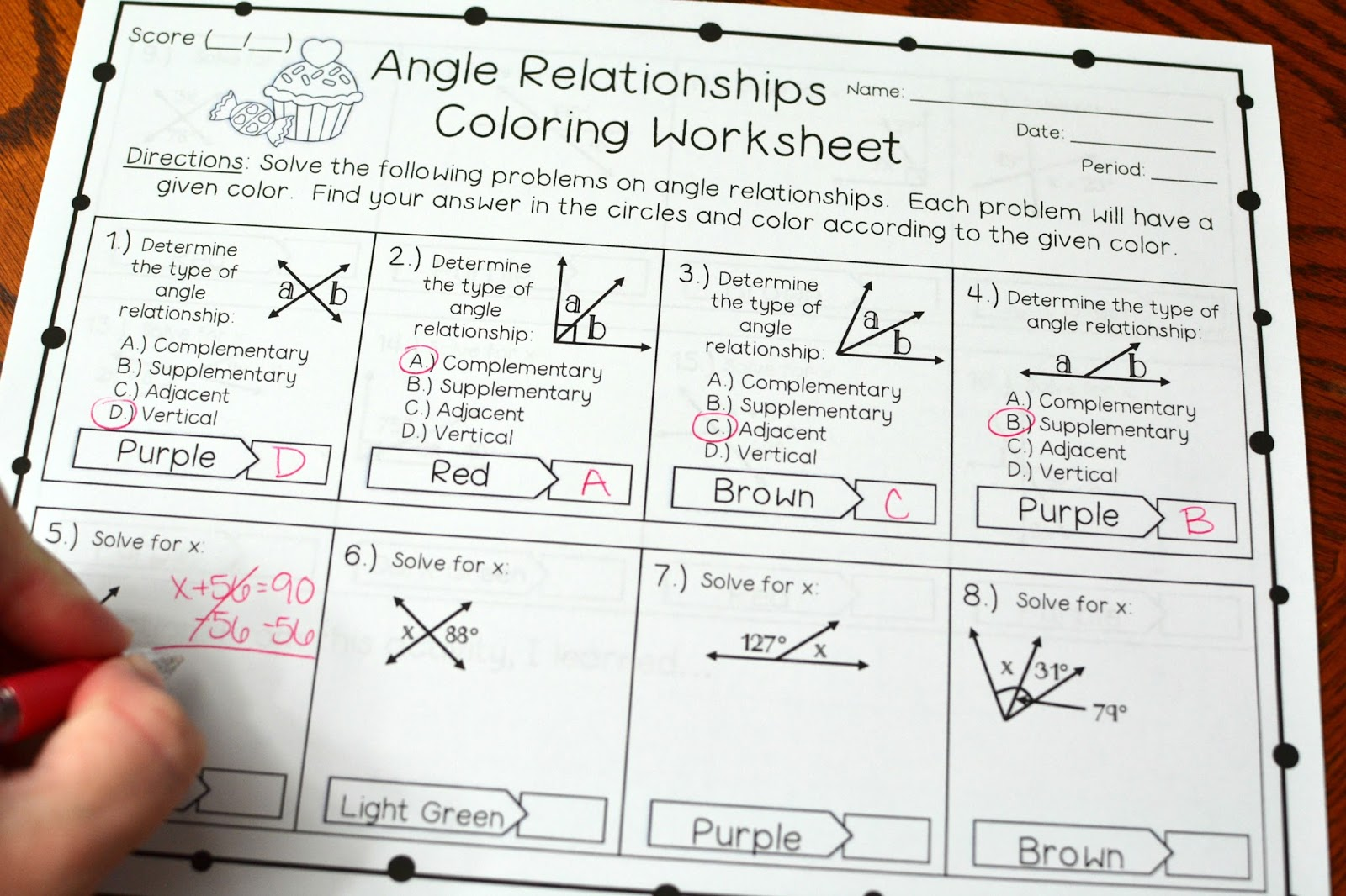 Angle Relationships Coloring Worksheet