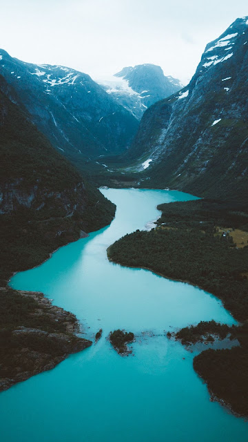 Valley, Lake, Landscape, River, Mountains