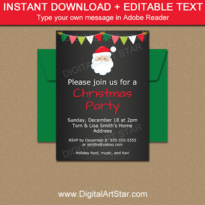chalkboard santa invitation download for christmas