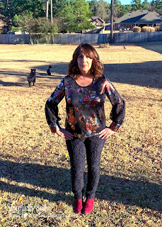 Simplicity 8982 in foil print knit worn by Sharon Sews