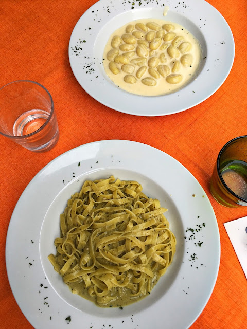 Fresh Gnocchi with cheese and pasta with Pesto