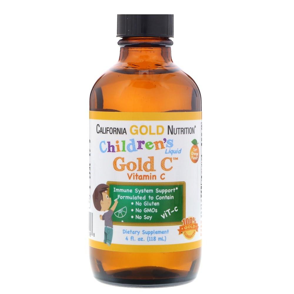 California Gold Nutrition, Детский жидкий витамин С, соответствующий требованиям Фармакопеи США, с натуральным апельсиновым вкусом, 4 жидких унции (118 мл)