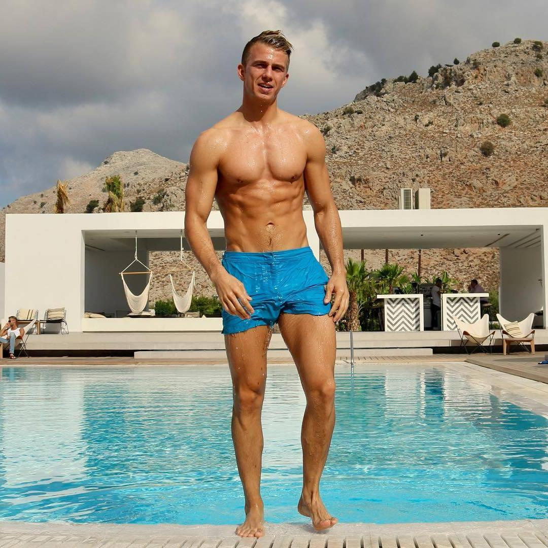 sexy-fit-muscular-shirtless-daddy-wet-body-pool-swimming-summer-blue-shorts