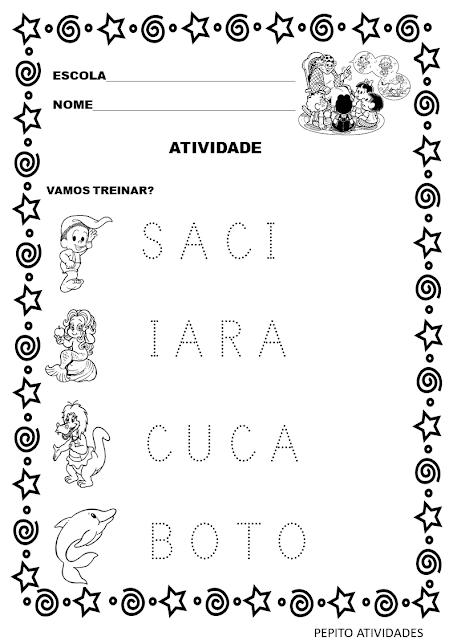 Atividade de folclore para imprimir com letra pontilhada .