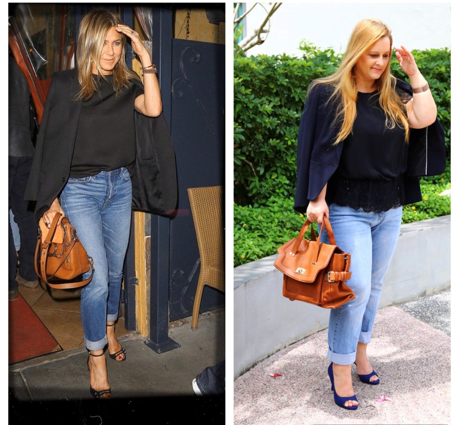 Jennifer Aniston's casual chic outfit of jeans, jacket and tan bag is successfully copied by blogger Anna from GlamAdventure