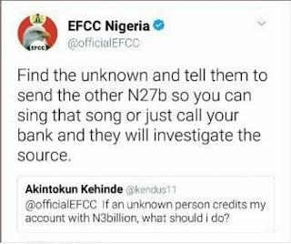 Funny Tweet to Efcc