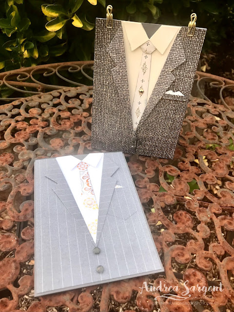 The Suit and Tie Gift bag with single card, plus an Easel Card were created for that special fella in your life, by Andrea Sargent at Valley Inspirations. Copyright Stampin' Up!
