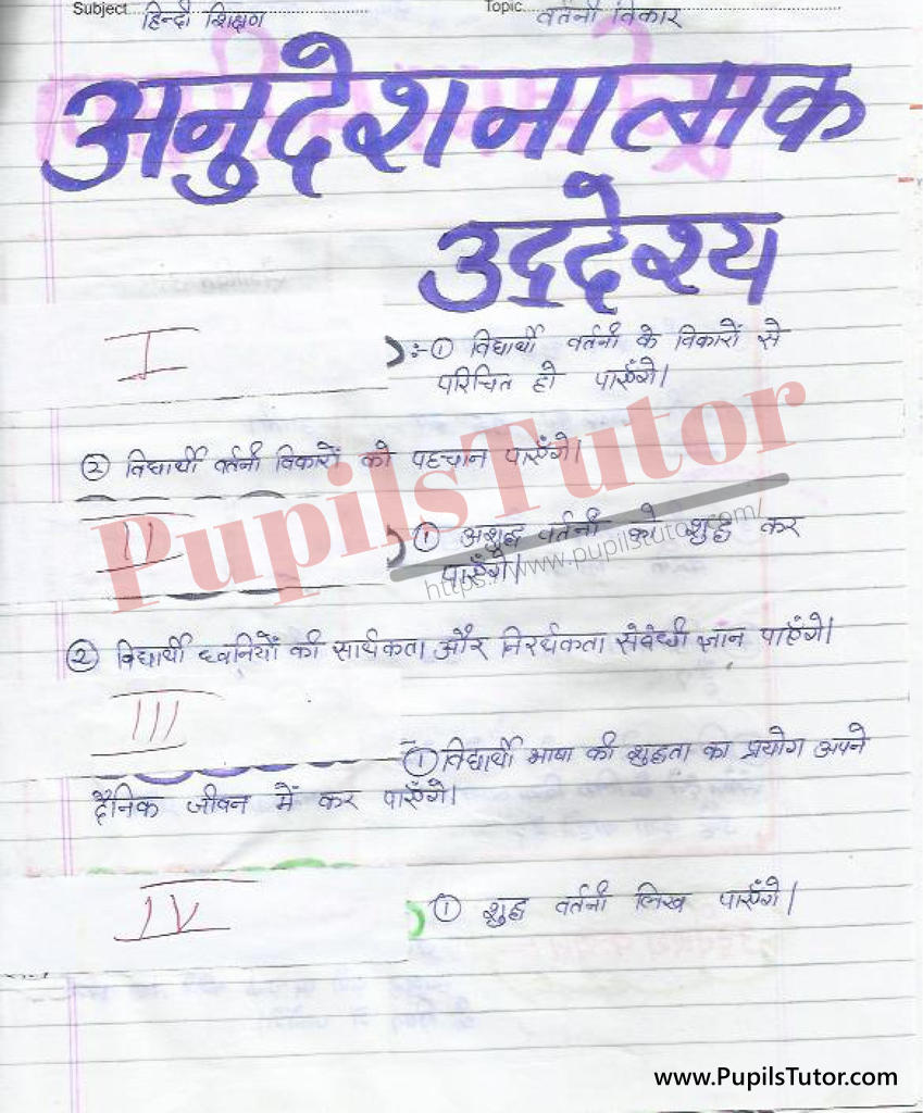 Vartani Lesson Plan in Hindi for B.Ed First Year - Second Year - DE.LE.D - DED - M.Ed - NIOS - BTC - BSTC - CBSE - NCERT Download PDF for FREE