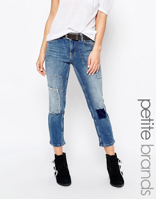 Petite patchwork ankle grazer jeans, $84.11 from Vero Moda