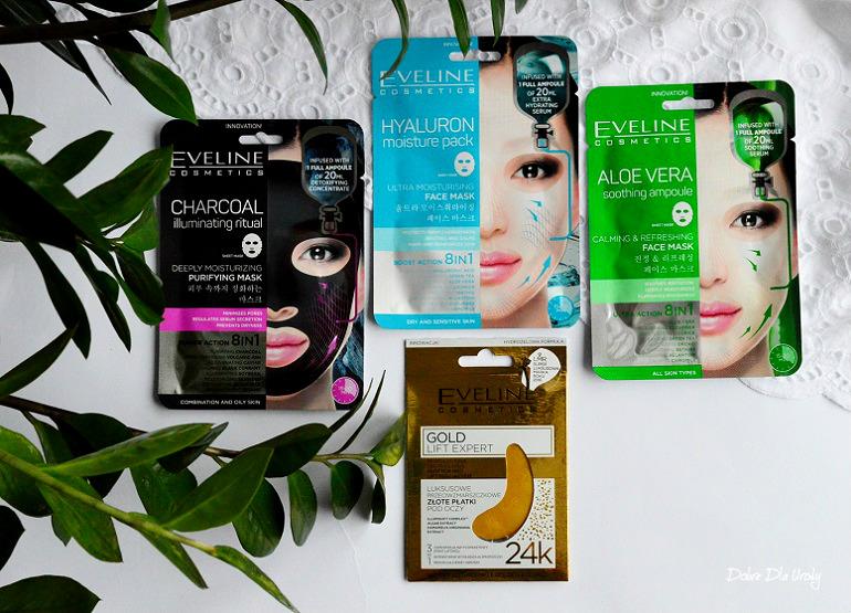 Koreańskie maski natkaninie i złote płatki pod oczy Eveline Cosmetics - recenzja