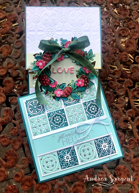 Two cards featuring a deep teal blue-green, Pretty Peacock, one card with 2-step layered stamping and heat embossing; the other with water-coloured die cuts and dry embossing.