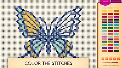 Image of a partially colored butterfly - cross stitch design