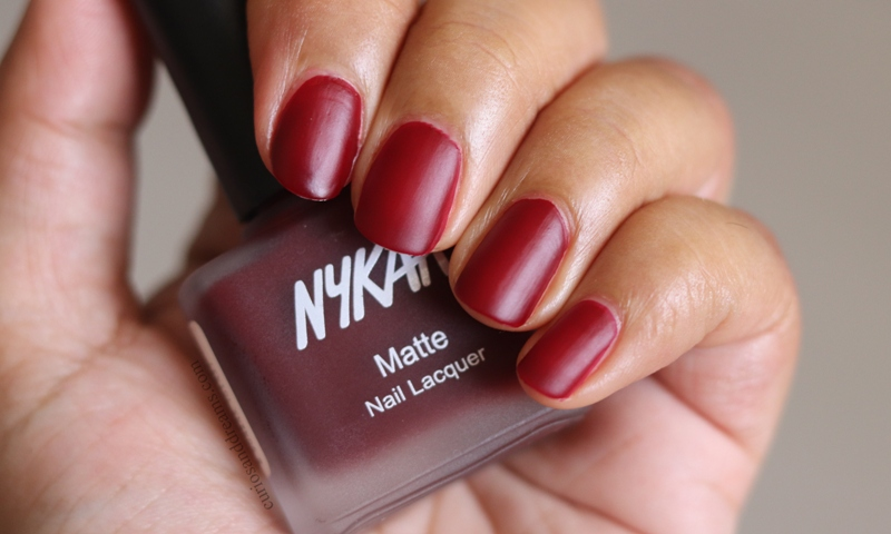 Nykaa Matte Nail polish Ruby Blaze review