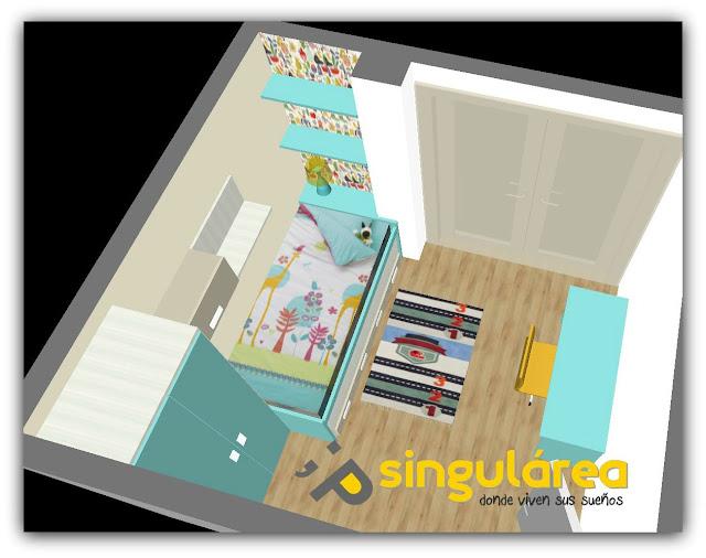 Dormitorio juvenil Proyecto 3D Singulárea