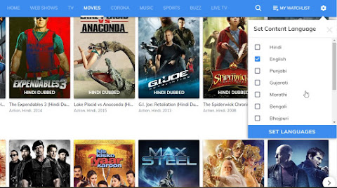 Mx Player live tv movie vod streaming web language preference