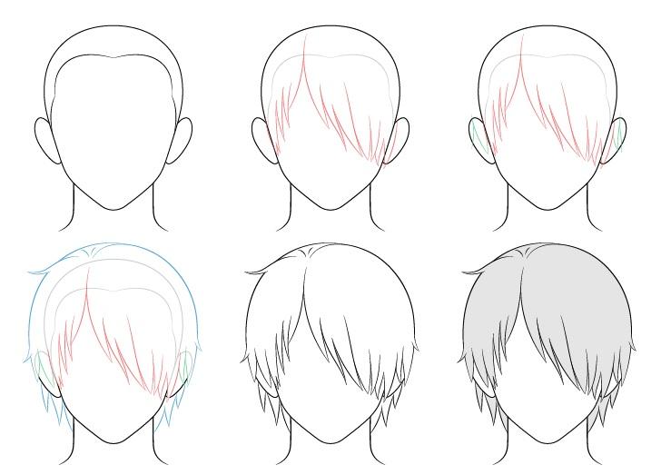 Rambut pria anime di atas satu gambar mata selangkah demi selangkah