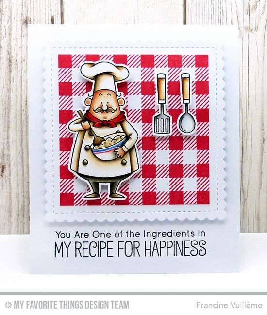 Handmade card from Francine Vuillème featuring Birdie Brown Recipe for Happiness stamp set and Die-namics, Stitched Mini Scallop Square STAX Die-namics #mftstamps