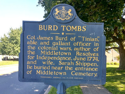 Burd Tombs Historical Marker in Middletown, Pennsylvania