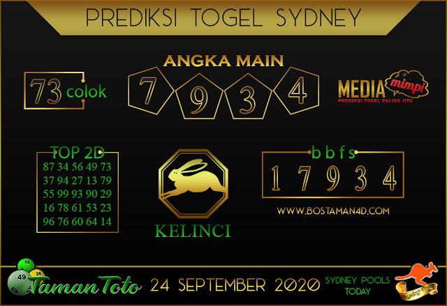Prediksi Togel SYDNEY TAMAN TOTO 24 SEPTEMBER 2020