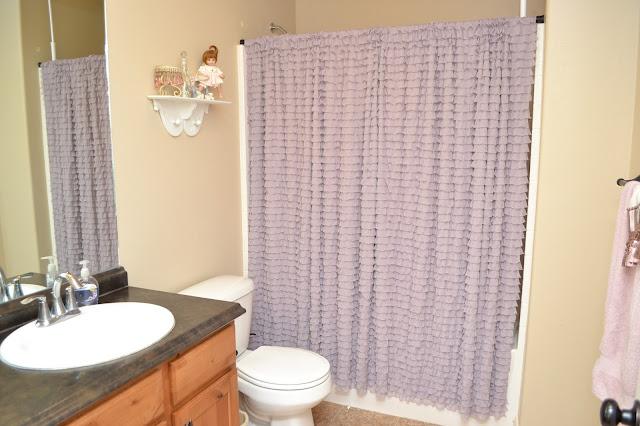 Lavender Purple Ruffle Shower Cutain