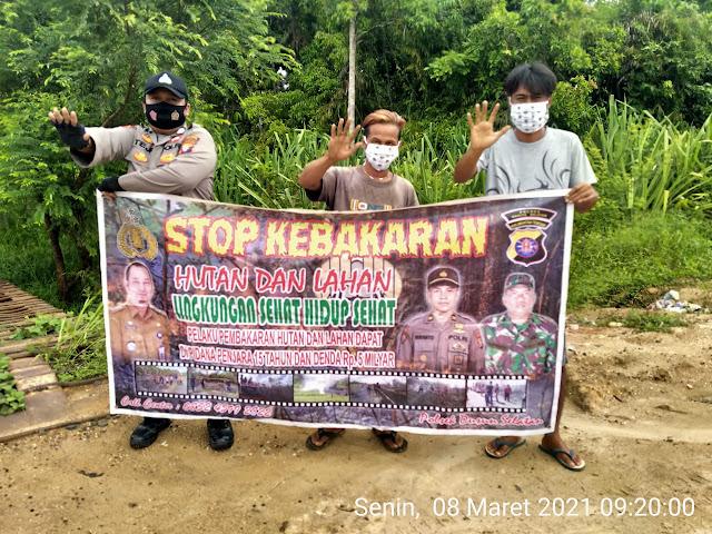Personel Polsek Dusel Terus Ajak Masyarakat Jangan Membakar Hutan dan Lahan