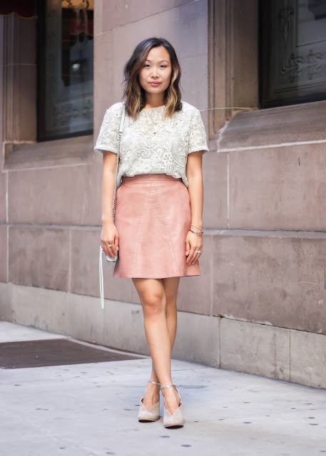 Day to Night Pink Leather Skirt