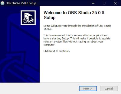 Pilih Next pada Welcome to OBS Studio