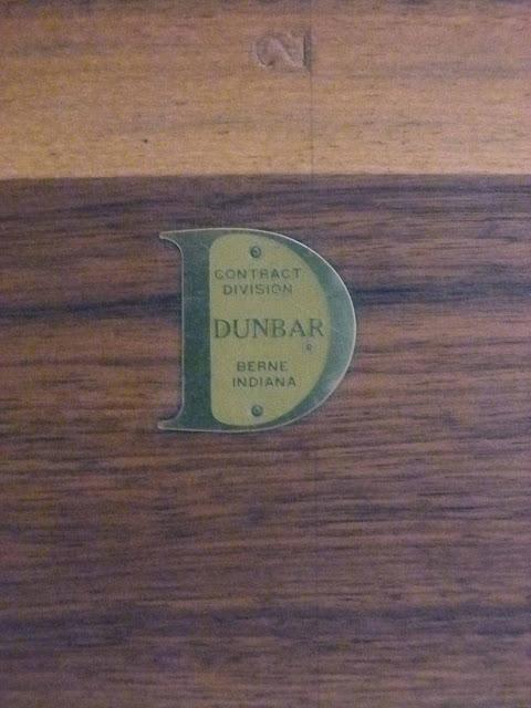 Edward J Wormley Modern Walnut Dining table by Dunbar Logo Empblem Metal