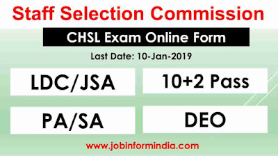 SSC CHSL Examination 2020 For LDC, JSA, PA, SA & DEO Post